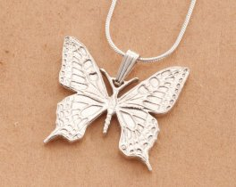 "Sterling Silver Butterfly Pendant, Silver Butterfly Jewelry, Butterfly Jewelry, Silver Butterfly Pendant, 1 1/4"" diameter, ( # 605BS )"