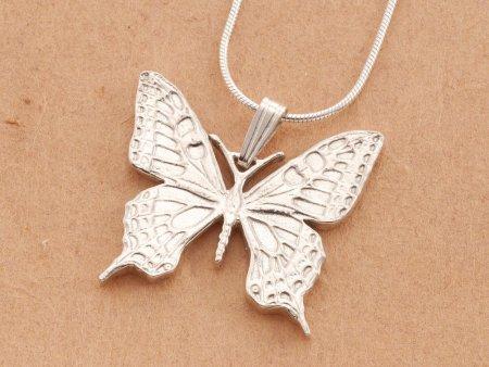 "Sterling Silver Butterfly Pendant, Silver Butterfly Jewelry, Butterfly Jewelry, Silver Butterfly Pendant, 1 1/4"" diameter, ( # 605BS )"