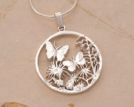 "Sterling Silver Butterfly Pendant, Silver Butterfly Jewelry, Hand Cut Butterfly Medallion, Butterfly Jewelry, 1"" in Diameter, ( # 681S )"