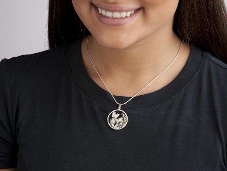 """Sterling Silver Butterfly Pendant, Silver Butterfly Jewelry, Hand Cut Butterfly Medallion, Butterfly Jewelry, 1"""" in Diameter, ( # 681S )"""