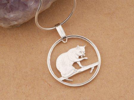 "Sterling Silver Cat Pendant, Silver Cat Jewelry, British Blue Cat Pendant, Cat Jewelry, 3/4"" in diameter, ( # 669S )"