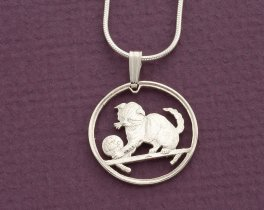 "Sterling Silver Cat Pendant, Sterling Silver Cat jewelry, Cat Jewelry, Scottish Fold Cat Jewelry, 3/4"" diameter, ( # 710S )"