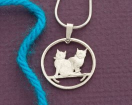 "Sterling Silver Cat Pendant, Sterling Silver Cat Jewelry, Silver Cat Jewelry, Cat Jewelry, 3/4"" diameter ( # 785S )"