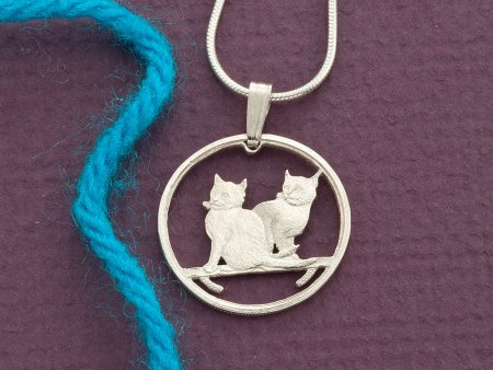 """Sterling Silver Cat Pendant, Sterling Silver Cat Jewelry, Silver Cat Jewelry, Cat Jewelry, 3/4"""" diameter ( # 785S )"""