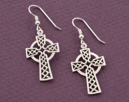 "Sterling Silver Celtic Cross Earrings , Silver Celtic Cross Earrings, Celtic Cross Jewelry, 1"" long , ( # 819ES )"