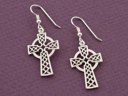 """Sterling Silver Celtic Cross Earrings , Silver Celtic Cross Earrings, Celtic Cross Jewelry, 1"""" long , ( # 819ES )"""