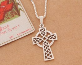"Sterling Silver Celtic Cross Pendant, Celtic Cross Jewelry, Sterling Silver Irish Jewelry, 1"" long, ( # 819S )"