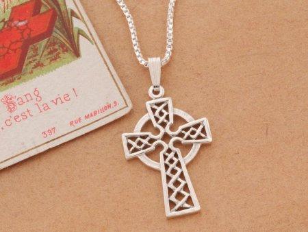 """Sterling Silver Celtic Cross Pendant, Celtic Cross Jewelry, Sterling Silver Irish Jewelry, 1"""" long, ( # 819S )"""