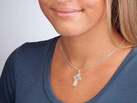 Sterling Silver Celtic Cross Pendant, Hand Cut Celtic Cross Medallion, Celtic Cross Jewelry, ( # 776BS )