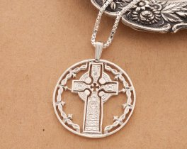 "Sterling Silver Celtic Cross Pendant, Hand Cut Sterling Silver Celtic Cross Medallion, Celtic Cross Jewelry, 1 1/8""in Diameter, ( # 776S )"