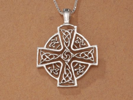 "Sterling Silver Celtic Cross Pendant, Hand Cut Sterling Silver Celtic Cross Medallion, Celtic Jewelry, 1 1/8"" in Diameter, ( # 905S )"