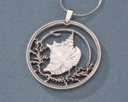 "Sterling Silver Conch Shell Pendant, Hand Cut Bahama Conch Shell Coin Jewelry, 1 1/4"" in Diameter, ( # 19S )"