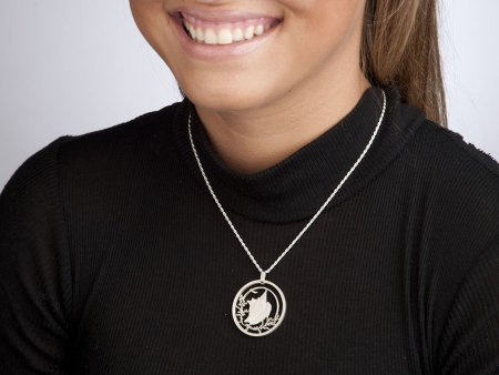 """Sterling Silver Conch Shell Pendant, Hand Cut Bahama Conch Shell Coin Jewelry, 1 1/4"""" in Diameter, ( # 19S )"""