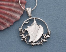 "Sterling Silver Conch Shell Pendant, Hand cut Bahamas One Dollar coin, Sea Life Jewelry, 1"" in Diameter, ( # 19BS )"