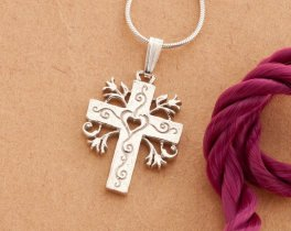 "Sterling Silver Cross pendant, Silver Cross Pendant, Sterling Silver Religious Jewelry, Silver Religious Gifts, 1"" long, ( # 875BS )"
