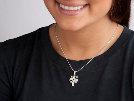 "Sterling Silver Cross pendant, Silver Cross Pendant, Sterling Silver Religious Jewelry, Silver Religious Gifts, 1"" long, ( # 875BS )"