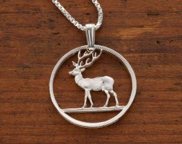 "Sterling Silver Deer Pendant and Necklace, Hand Cut Wild Life Coin , Sterling Silver Hunters Jewelry, 7/8"" in Diameter ( # 230S )"
