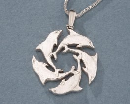 """Sterling Silver Dolphin Pendant, Hand Cut Gibraltar Dolphin Coin, Silver Dolphin Jewelry, 1 """" in Diameter, ( # 123S )"""