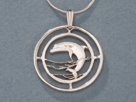 "Sterling Silver Dolphin Pendant, Hand Cut Russian 50 Rubles Dolphin Coin, Sea Life Jewelry, 1"" in Diameter, ( # 505S )"