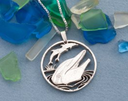 """Sterling Silver Dolphin Pendant, Hand cut Silver Dolphin Pendant and Necklace, Silver Sea Life Jewelry, 1 1/8"""" diameter, ( # 548S )"""