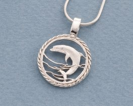"""Sterling Silver Dolphin Pendant, Silver Dolphin Pendant, Sterling Silver Sea Life Jewelry, Dolphin Jewelry, 1"""" diameter, ( # 893S )"""