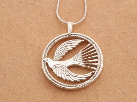 "Sterling Silver Dove Of Peace Pendant, Sterling Silver Religious Jewelry, Dove of Peace Pendant, 1 1/8"" in Diameter, ( # 760S )"