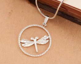 "Sterling Silver Dragonfly Pendant, Silver Dragonfly Jewelry, Dragonfly Jewelry, Dragonfly Pendant, 1"" diameter, ( # 890BS )"