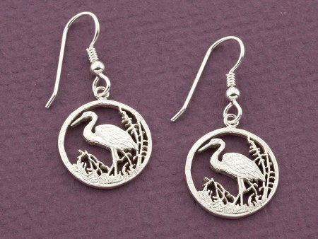"Sterling Silver Egret Earrings, Silver Egret Earrings, Sterling Silver Egret Jewelry, 3/4"" in diameter, ( # 804BES )"
