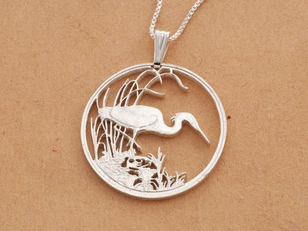 "Sterling Silver Egret Pendant, hand cut Egret Coin pendant, Silver Tropical bird Jewelry, 1 1/4"" in diameter, ( # 563S )"
