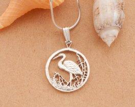 """Sterling Silver Egret Pendant, Silver Egret Pendant, Silver Tropical Bird Jewelry, Bird Jewelry, 3/4"""" diameter, ( # 804BS )"""