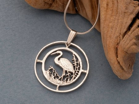 "Sterling Silver Egret Pendant, Silver Tropical Bird Jewelry, Hand Cut Silver Tropical Bird Pendant, 1"" in Diameter, ( # 804S )"