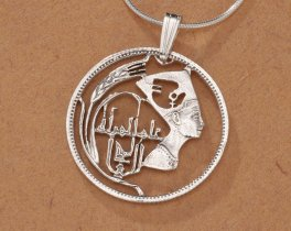 "Sterling Silver Egyptian Nefertiti Pendant, Hand Cut Egyptian Nefertiti Coin, Egyptian Jewelry, 1"" in Diameter ( # 91S )"