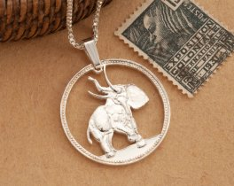 "Sterling Silver Elephant Pendant, Hand cut Liberian Elephant coin pendant, Silver Elephant Jewelry, 1"" diameter, ( #376S )"