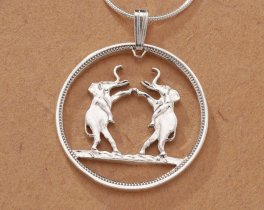 """Sterling Silver Elephant Pendant, Hand Cut Rhodesia Elephant Coin, African Wilf Life Jewelry, 1"""" in Diameter, ( 267S )"""