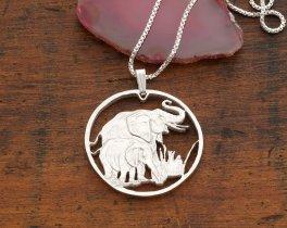"Sterling Silver Elephant Pendant, Silver Elephant Jewelry, Elephant Jewelry, African Wild Life Jewelry, 1 1/8"" diameter, ( # 895S )"