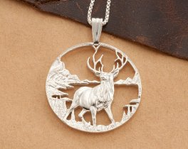 "Sterling Silver Elk Pendant, Silver Elk Pendant, Silver Elk Jewelry, Sterling Silver Wild Life Jewelry, 1 1/4"" diameter, ( # 609S )"