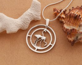 "Sterling Silver Flamingo Pendant, Hand Cut Flamingo Coin , Silver Tropical Bird Jewelry, Silver Flamingo Jewelry, 1"" in Diameter, ( # 675S )"