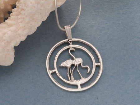 "Sterling Silver Flamingo Pendant, Hand Cut Flamingo Coin , Silver Tropical Bird Jewelry, Silver Flamingo Jewelry, 1"" in Diameter, ( # 675S )"