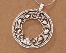 """Sterling Silver Floral Wreath Pendant, Hand Cut India One Rupee Flower Coin, Floral Wreath Jewelry, 1 1/8"""" in Diameter, ( # 569S )"""