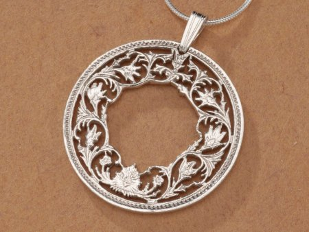 "Sterling Silver Floral Wreath Pendant, Hand Cut India One Rupee Flower Coin, Floral Wreath Jewelry, 1 1/8"" in Diameter, ( # 569S )"