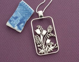 """Sterling Silver Flower Pendant and Necklace, Hand cut sterling silver design, Sterling silver Floral Jewelry, 1 3/8"""" in height, ( # 799S )"""