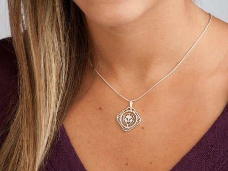 """Sterling Silver Flower Pendant, Hand Cut Carribean Hibiscus Coin, St Marrtin 50 cents Coin Jewelry, 7/8"""" in Diameter, ( # 234S )"""