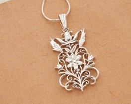 """Sterling Silver Flower Pendant, Silver Flower Jewelry, Sterling Womans Pendants, 1 1/2"""" long, ( # 612S )"""