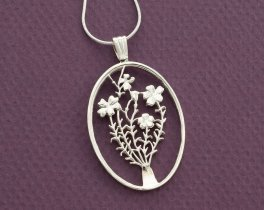 "Sterling Silver Flower Pendant, Sterling Silver Flower Jewelry, Hand Cut Flower Coin Pendant, Floral Jewelry, 1 3/8"" in Diameter ( # 808S )"