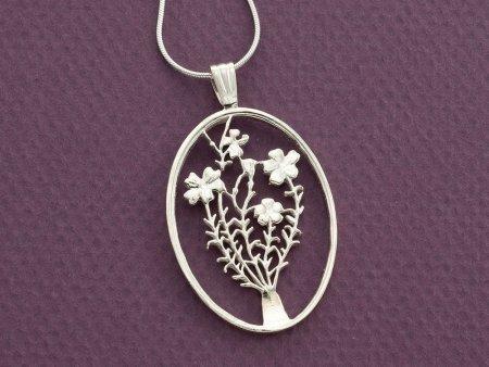 "Sterling Silver Flower Pendant, Sterling Silver Flower Jewelry, Hand Cut Flower Coin Pendant, Floral Jewelry, 1 3/8"" in Diameter ( # 808S )"