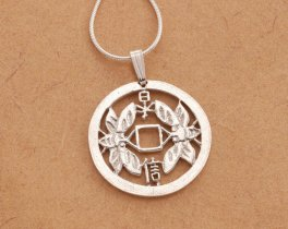 "Sterling Silver Friendship Pendant, hand cut Korean Friendship coin, Sterling Silver Friendship Jewelry, 1"" in diameter, ( # 561S )"