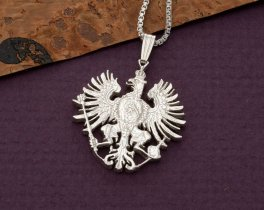 "Sterling Silver German Eagle Pendant and Necklace, Hand Cut German Eagle Coin, 1"" in Diameter, ( # 118S )"