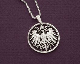 """Sterling Silver German Eagle Pendant and Necklace, Hand Cut Silver German One Mark Coin, 7/8"""" in Diameter, ( # 114S )"""