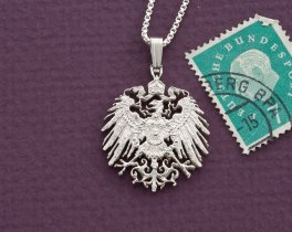 "Sterling Silver German Eagle Pendant, hand cut German Eagle three mark coin, German Coin Jewelry, 1"" in diameter, ( # 121S )"
