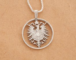 "Sterling Silver German Eagle Pendant, Hand cut German one mark coin, German Coin Jewelry, 7/8"" in Diameter, ( # 115S )"